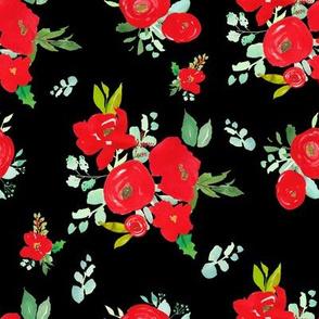 "8"" Red Winter Watercolor Florals Black"