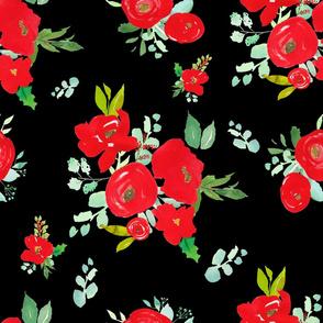 "21"" Red Winter Watercolor Florals Black"