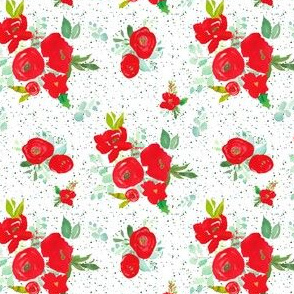 """4"""" Red Winter Watercolor Florals Bright Green Dots"""