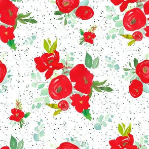 """8"""" Red Winter Watercolor Florals Bright Green Dots"""