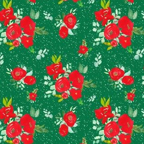 """4"""" Red Winter Watercolor Florals Bright Green"""