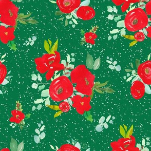 """8"""" Red Winter Watercolor Florals Bright Green"""