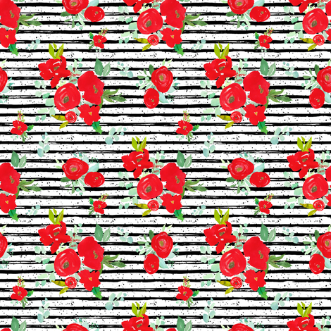 """4"""" Red Winter Watercolor Florals Stripes with Dots fabric by shopcabin on Spoonflower - custom fabric"""