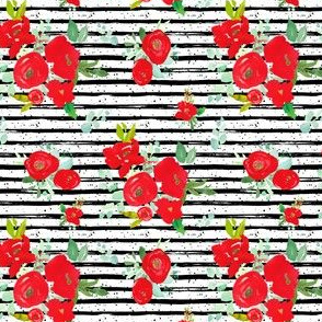 """4"""" Red Winter Watercolor Florals Stripes with Dots"""