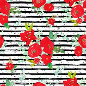 """8"""" Red Winter Watercolor Florals Stripes with Dots"""
