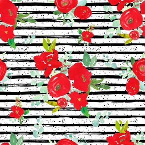 """21"""" Red Winter Watercolor Florals Stripes with Dots"""