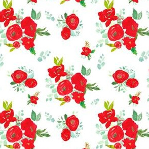 """4"""" Red Winter Watercolor Florals White"""