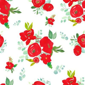 """8"""" Red Winter Watercolor Florals White"""