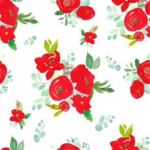 """21"""" Red Winter Watercolor Florals White"""