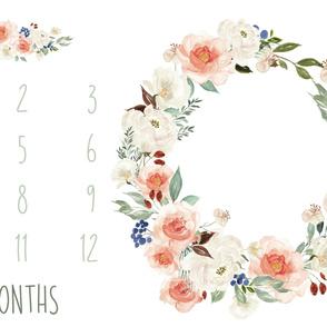 "54"" x 36"" // Woodland Blooms Baby Milestone Blanket"