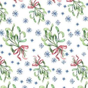 mistletoe and snowflakes