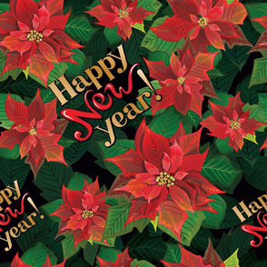 Poinsettia pattern new year lettering