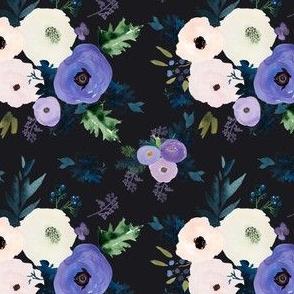 "4"" Blooming Lilac Florals Dark Grey"