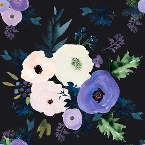 "8"" Blooming Lilac Florals Dark Grey"