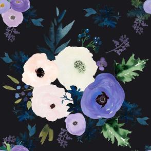 "18"" Blooming Lilac Florals Dark Grey"