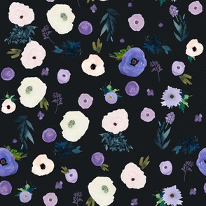 "8"" Blooming Winter Free Falling Florals Dark Grey"