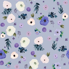 """8"""" Blooming Winter Free Falling Florals  Lilac"""