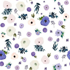 """8"""" Blooming Winter Free Falling Florals White"""