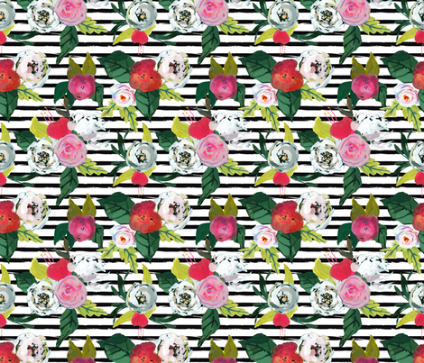 Painted Rose Garden with Stripe fabric by theartwerks on Spoonflower - custom fabric