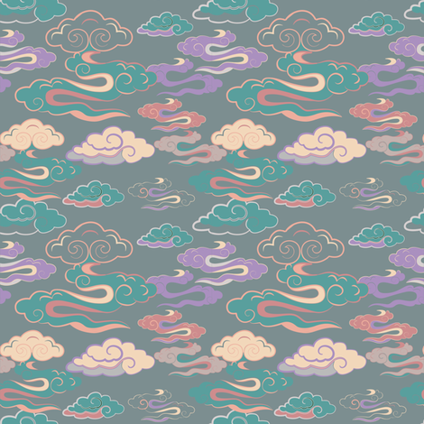 CLOUDS_GREENORANGE_SEAMLESS_STOCK fabric by oyunatl on Spoonflower - custom fabric