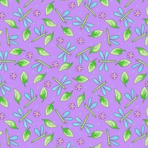 Dragonfly Leaves Purple Lavender Small