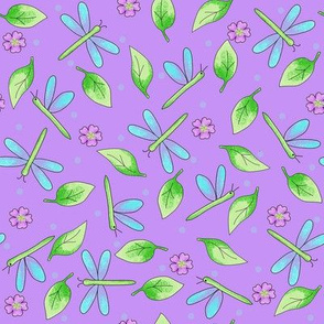 Dragonfly Leaves Purple Lavender