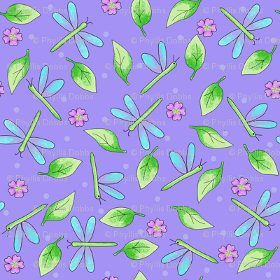 Dragonfly Leaves Purple Periwinkle