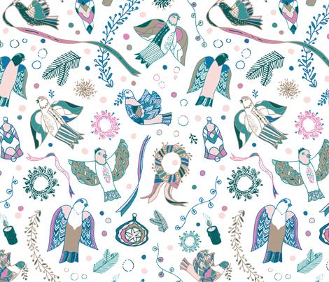 Christmas birds in white fabric by milesofjoystudio on Spoonflower - custom fabric
