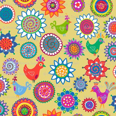 folk birds and flowers