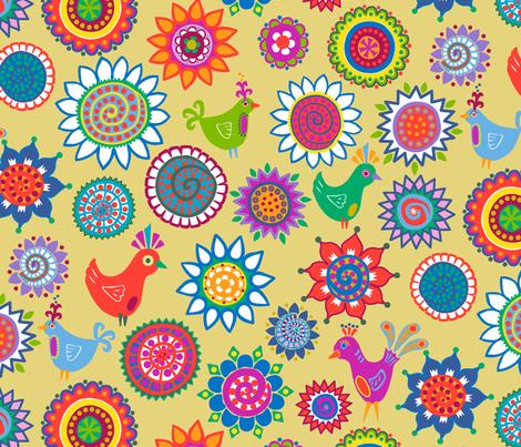 folk birds and flowers fabric by lalalamonique on Spoonflower - custom fabric