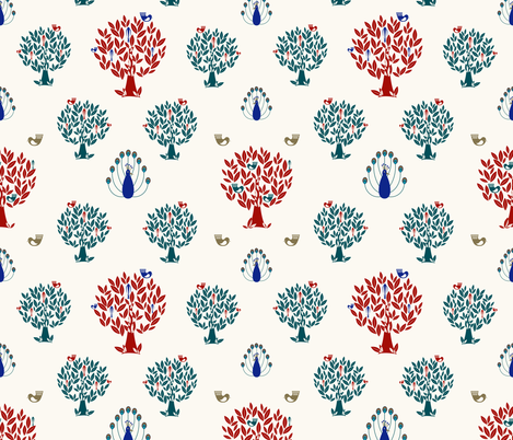 Birds in a tree fabric by lucyconway on Spoonflower - custom fabric