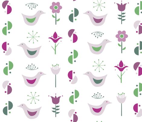 scandinavian birds and flowers-large fabric by dafnag on Spoonflower - custom fabric