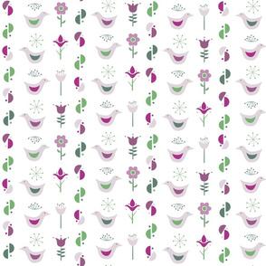 scandinavian birds and flowers- small