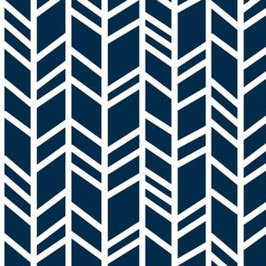 Large Herringbone- Navy/white - chevron