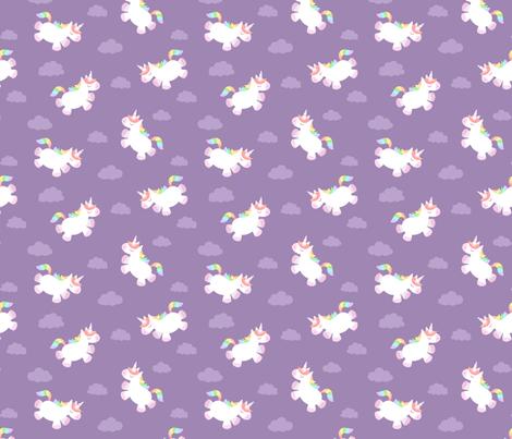 Flying Chubby Unicorn Purple fabric by sombrasblancas on Spoonflower - custom fabric