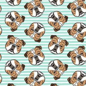Bulldogs - Toss on Teal Stripes -British bulldog English Bulldog Dog Breed