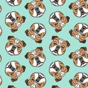 Bulldogs - Toss on Teal - British bulldog English Bulldog Dog Breed