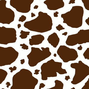 cow spots dark chocolate brown and white, large scale