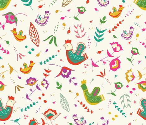 Scandi Birds - Cream fabric by sweetgrasspaperco on Spoonflower - custom fabric