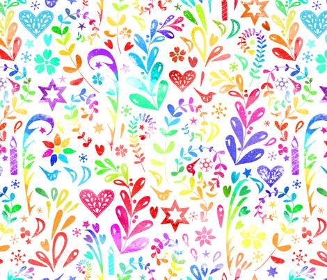 Rainbow Folk Art fabric by emeryallardsmith on Spoonflower - custom fabric