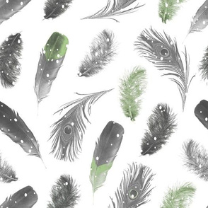 Snowfall Feathers Green
