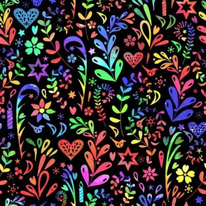 Rainbow Folk Art - black background - smaller scale