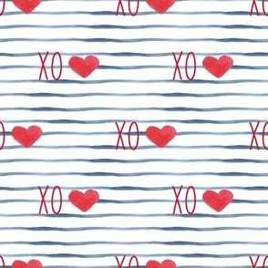 "4"" Red XO Hearts // Blue Stripes"