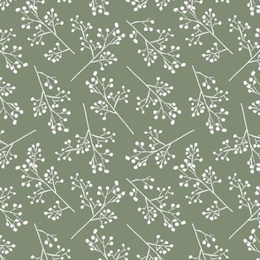 Green and White Romantic Floral