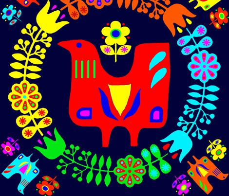 Scandanavian Folk Art fabric by vagabond_folk_art on Spoonflower - custom fabric