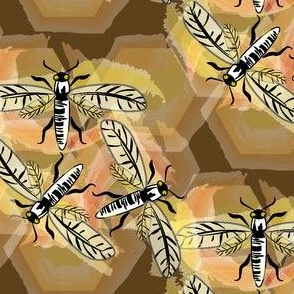 Honeycomb Bees on Brown