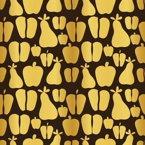 Gold apples and pears on dark background