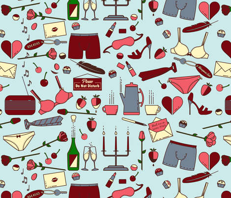 Meet Me in Room 143 - Blue fabric by yourfriendamy on Spoonflower - custom fabric