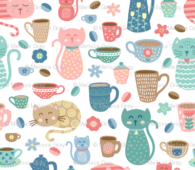 Cheerful Coffee Cats on White