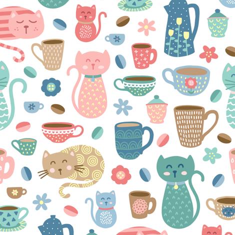 Cheerful Coffee Cats on White fabric by moonpuff on Spoonflower - custom fabric